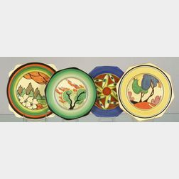 Four Clarice Cliff Bizarre Ware Plates