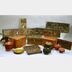 Large Group of Asian Lacquerware and Carved Wooden Articles