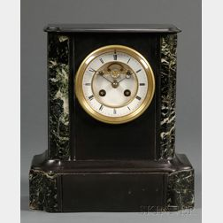 French Belgian Slate and Mable Mantel Clock