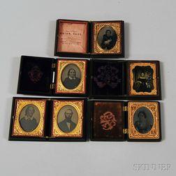 Six Ninth-plate Early Photography Portraits