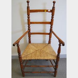 Country Ash and Hickory Slat-back Armchair with Woven Rush Seat.     Estimate $200-250