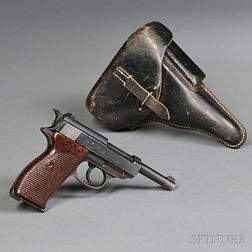 Mauser-manufactured Walther P-38 Pistol, Holster, and Spare Magazine
