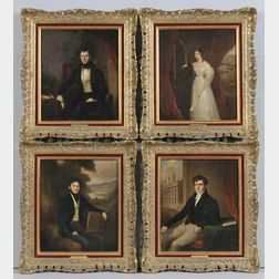 William Moore (American, 1790-1851)      Set of Four Portraits of the Long Family:  Edwina, Roger, Herbert, and Harry