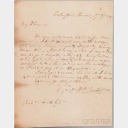 Custis, George Washington Parke (1781-1857) Autograph Letter Signed, Arlington House, 17 April 1848.