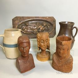 Six Decorative Pottery and Wood Items