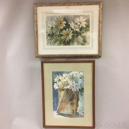 Two Framed Robert W. Dailey Watercolors on Paper Depicting Daisies
