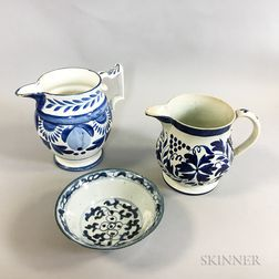 Two Blue and White Ceramic Pitchers and a Chinese Porcelain Bowl