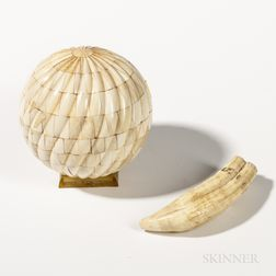 Whale's Tooth Sphere and Small Scrimshaw Tooth