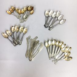 Group of Sterling Silver Demitasse Spoons and Butter Knives