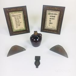 Roycroft Jug, Pair of Bookends, Door Knocker, and Two Leather-clad Framed Quotes by Elbert Hubbard.     Estimate $100-300