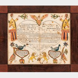 """Printed, Watercolor, and Pen and Ink-decorated """"Lions and Kings"""" Birth Fraktur"""