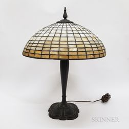 Leaded Glass and Bronzed Metal Table Lamp