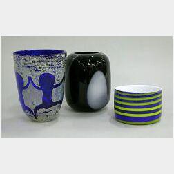 Three Modern Glass Vases