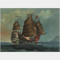 Chinese School, 19th Century  Portrait of a Chinese Junk.