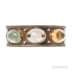 18kt Gold and .950 Silver Gem-set Bracelet