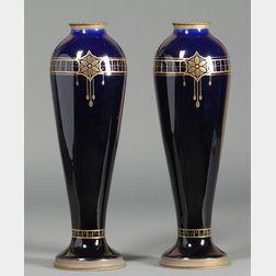 Pair of Boch Fres Keramis Art Nouveau Cobalt Blue Earthenware Vases