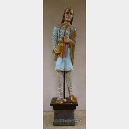 Polychrome Painted and Carved Wood Indian Cigar Store Figure