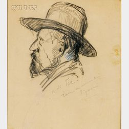 Paul Signac (French, 1863-1935)      Lot of Two Profile Portraits, Including Maximilian Luce