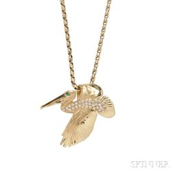 14kt Gold and Diamond Pelican Pendant