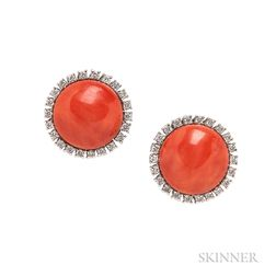 18kt White Gold and Coral Earrings
