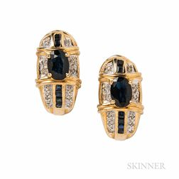 14kt Gold, Sapphire, and Diamond Earrings