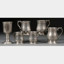 Five Pewter Mugs and a Chalice