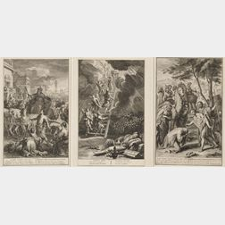 Lot of Five Unframed Dutch Engravings: Three After Gerard Hoet the Elder (Dutch, 1648-1733), Joseph Rides in a Chariot thro Egypt, ...
