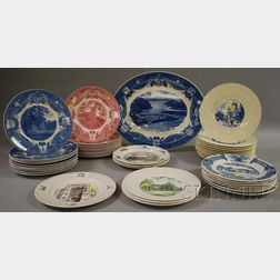 Forty-five Wedgwood Assorted Military College and School Ceramic Plates