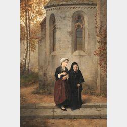 Hubert Salentin (German, 1822-1910)      A Walk Beside the Chapel.