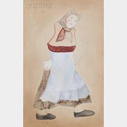 Natalia Sergeevna Goncharova (Russian, 1881-1962)      Costume Design for Une Paysanne Russe   in Les Noces