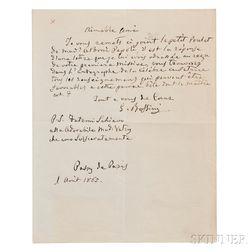 Rossini, Gioacchino (1792-1868) Autograph Letter Signed, Two Carte-de-visites, and Engraved Portrait.