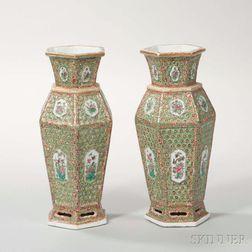 Pair of Hexagonal Rose Mandarin Export Porcelain Vases