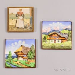 Three Art Pottery Tiles by Schrambers and Delft