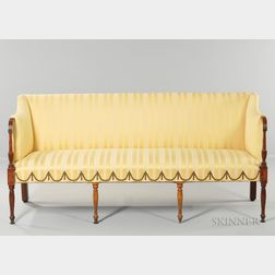 Carved Mahogany and Mahogany and Figured Veneer Inlaid Sofa