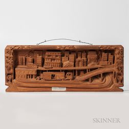 Relief-carved Cityscape Plaque