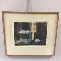 Framed Robert W. Dailey Still Life with Eggs Watercolor