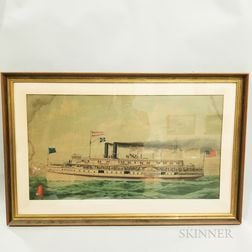 Two Large Framed Lithographs of Steamships