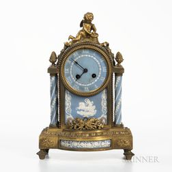 Gilt-bronze-mounted Wedgwood Tricolor Jasper Clock