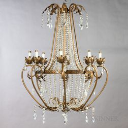 Pressed Brass and Cut Glass Eight-light Chandelier