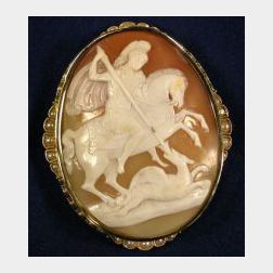 Antique 15kt Gold and Seed Pearl Shell Cameo Brooch