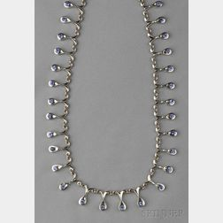 14kt White Gold and Tanzanite Fringe Necklace, Le Vian