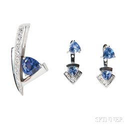 14kt White Gold, Tanzanite, and Diamond Pendant and Earrings