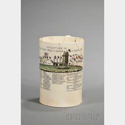 Polychrome and Transfer Decorated Liverpool Creamware Mug