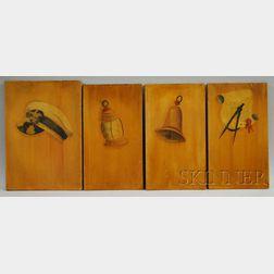 Set of Four Ralph Cahoon Oil on Masonite Maritime-theme Panels