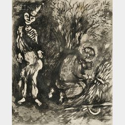 Marc Chagall (French/Russian, 1887-1985)      Death and the Woodsman
