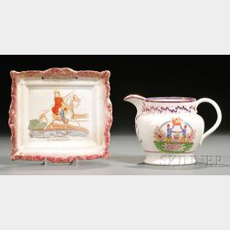 Sunderland Pink Lustre Transfer-decorated King William of Orange Jug and Plaque