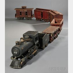 Eight-car Scratch-built Painted Wood Toy Train