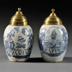 Two Dutch Delft Tobacco Jars