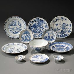 Eleven Blue and White Tableware Items