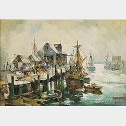 John Cuthbert Hare (American, 1908-1978)      Wharf with Fishing Vessels